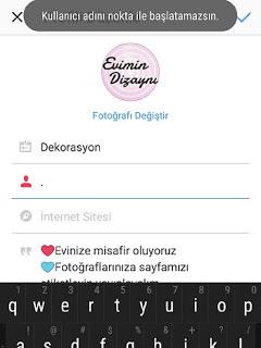 instagram kullanici adi nokta ile baslayamaz