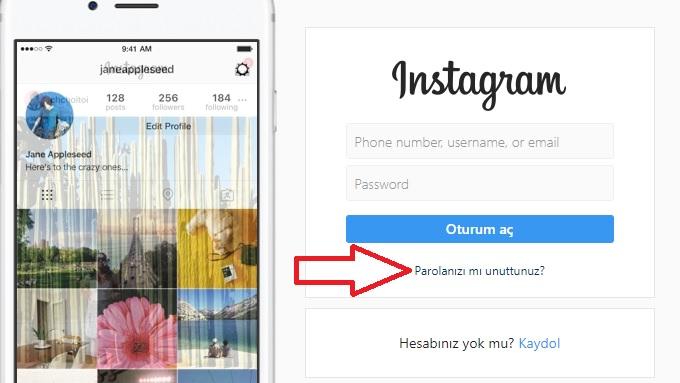 instagram şifremi unuttum 2