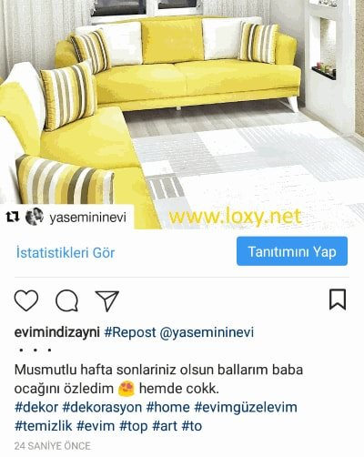 gönderinin instagramda repost yapılmış hali