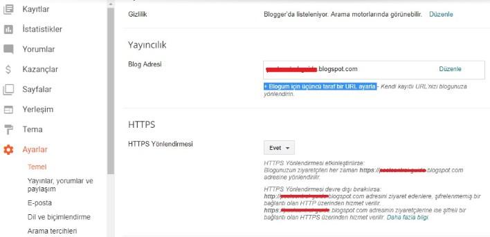 Blogger panelinde özel alan adı (domain) ayarlama
