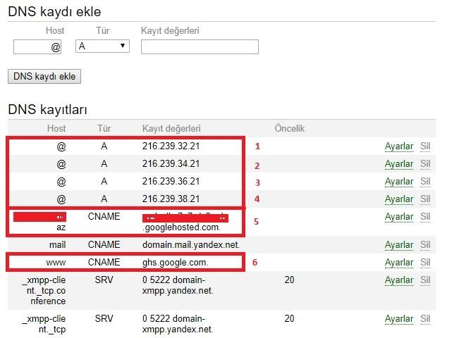 yandex domain dns cname a kaydı ayarlama blogger için