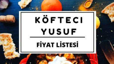 Köfteci Yusuf Fiyat Listesi 2019